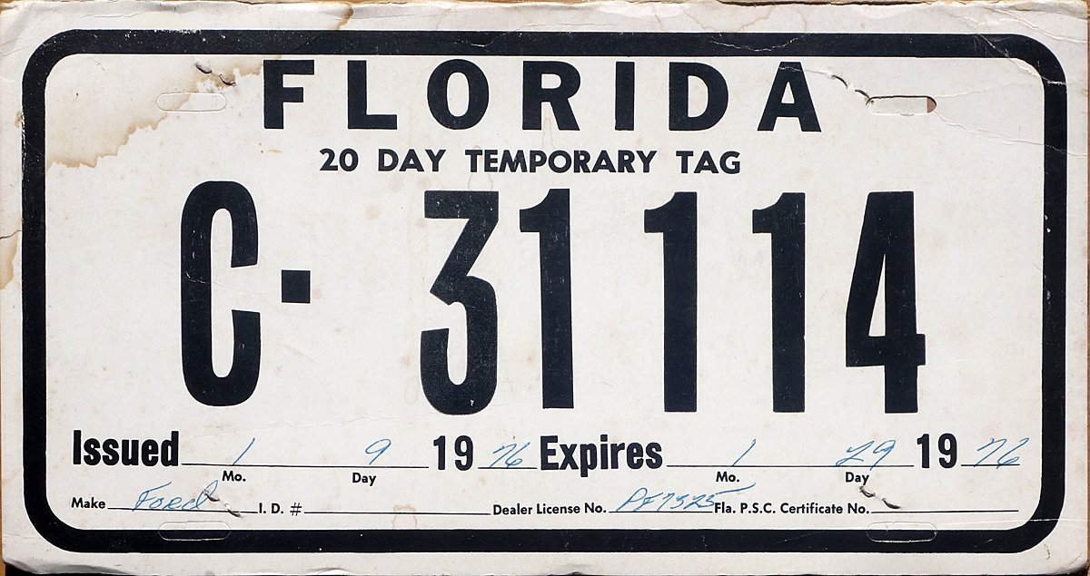 Florida Temporary Tag >> 76 Florida