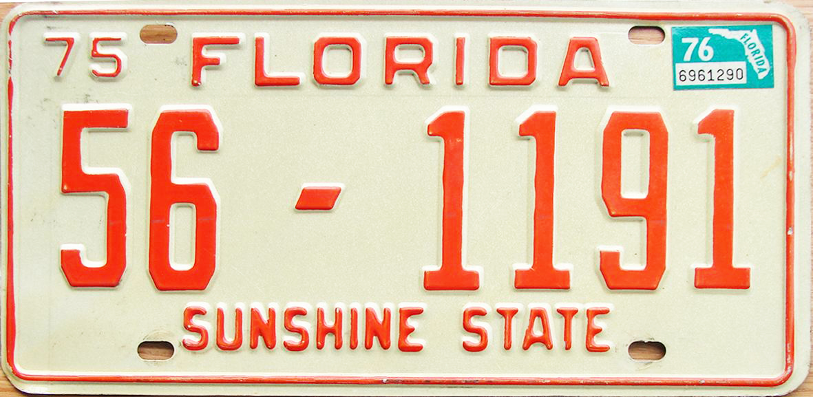 1976 Florida license plate issued in St. Johns County as noted by 20 prefix 1976 Florida license plate issued in Hamilton County as noted by 56 prefix  sc 1 st  The Plate Shack & 76 Florida