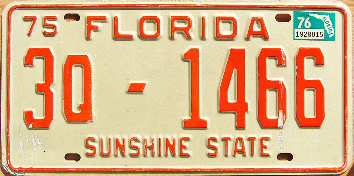 1975 Florida antique vehicle license plate as noted by the Q following the county code number updated with 76 expiration sticker.  sc 1 st  The Plate Shack & 76 Florida