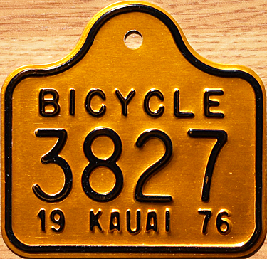 1976 Kauai bicycle license plate  sc 1 st  The Plate Shack & 76 Hawaii