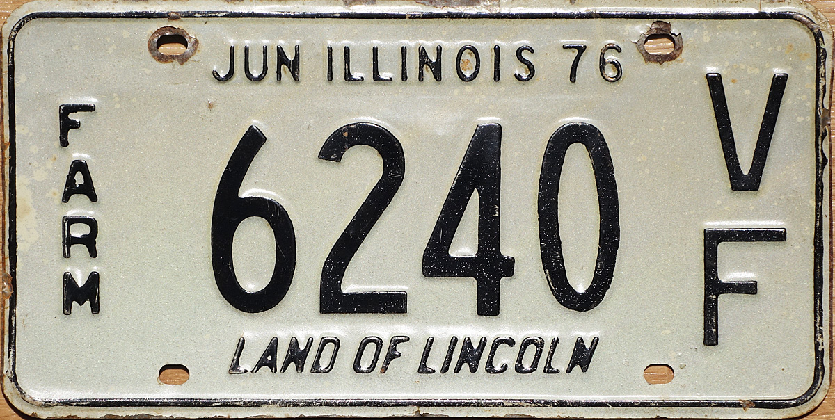Illinois farm plates used during 1976. The F under the V indicates it was for a vehicle in the less than 12001 lbs weight class while the H under the V is ... & 76 Illinois License Plate Page