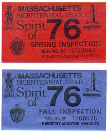 Fall and Spring safety inspection stickers issued in Massachusetts in 1976.