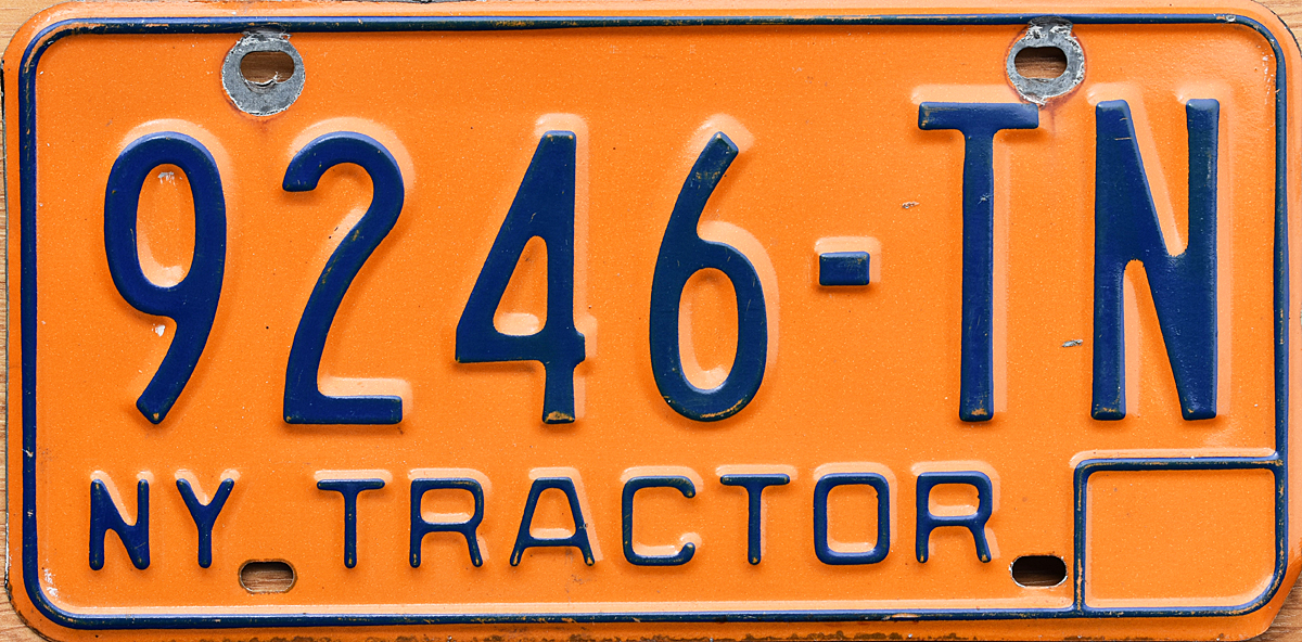 1974 base New York tractor plate of type used through 1976