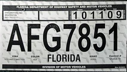 ohio temp tag Florida 3 Y2K