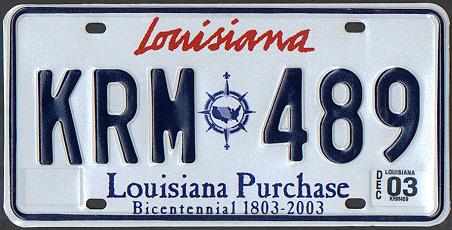 Louisiana license plate