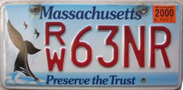 2000 expiration on Massachusetts Preserve the Trust plate. Image sent by Bruce McCormick of Springfield Oregon & Massachusetts Y2K