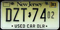 New Jersey Used Car Dealer Plates