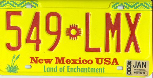New Mexico, even better than the real thing -- and it's in the USA according to this plate