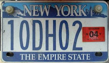Click on plate for larger image 2004 expiration on New York motorcycle license plate.