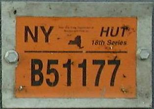 Current (April/May 2003) New York HUT permit seen on the front of apportioned trucks registered in other states. Image sent by Joe Sallmen of Fairmont, ...