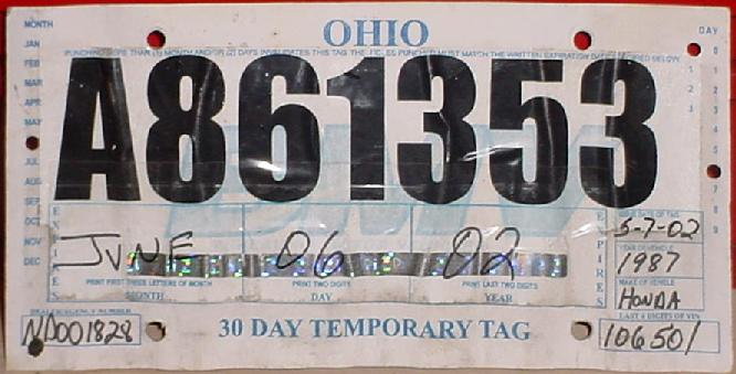 ohio temporary tags Ohio Y2K