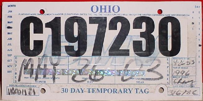 ohio temp tag Ohio Y2K