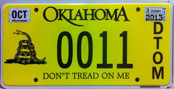 september 2012 expiration on oklahoma disabled american veteran license plate image sent by john o perez of bossier city louisiana - Don T Tread On Me License Plate Frame