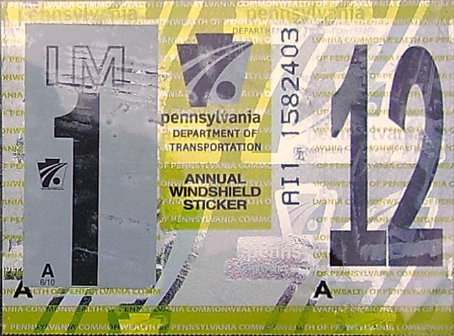 2012 Virginia State Inspection Sticker http://www.plateshack.com/y2k/Pennsylvania5/pennsylvania5.htm