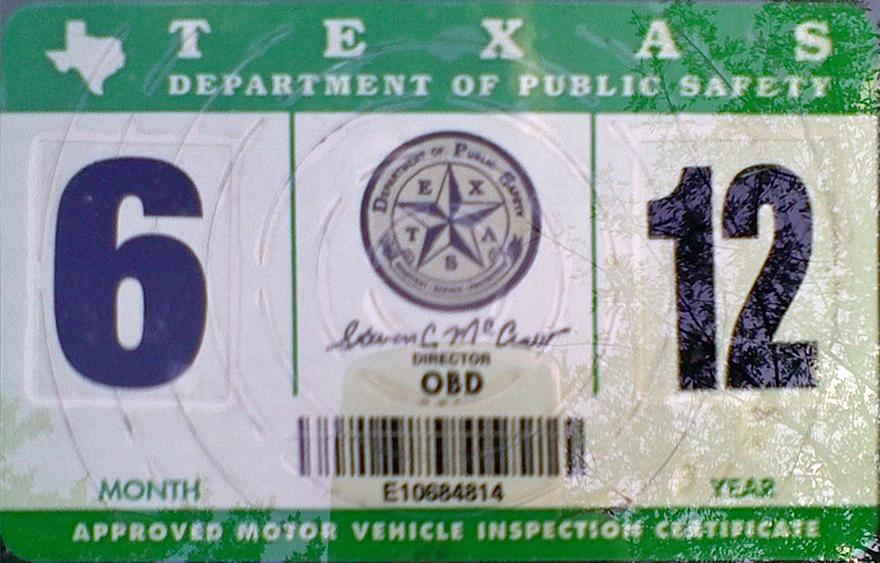 Texas Car Inspection >> Vehicle Registration Sticker Texas Sticker Creations