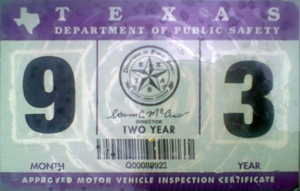 2012 Virginia State Inspection Sticker http://www.plateshack.com/y2k/Texas2/texas2.htm