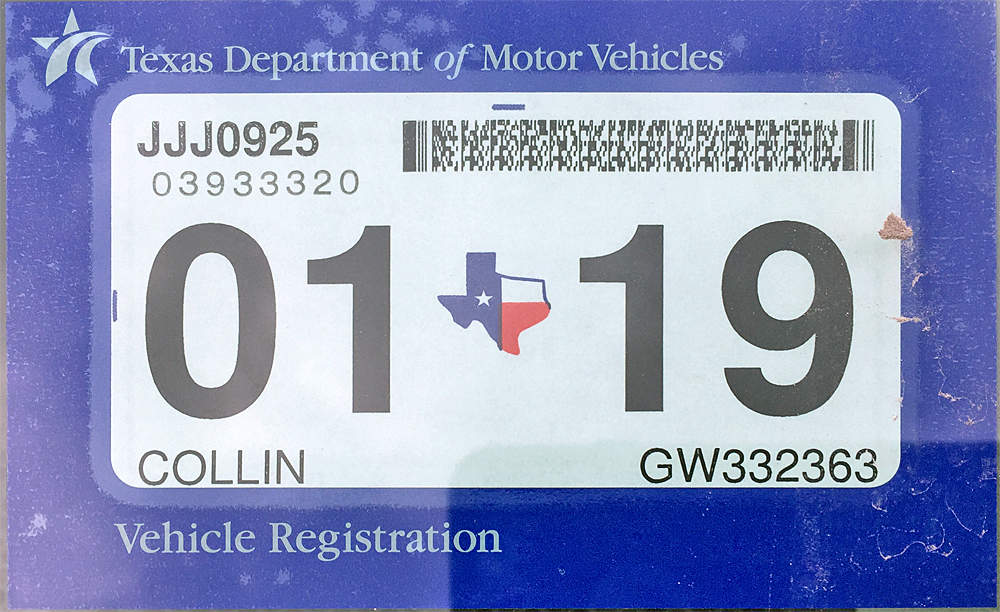 Car stickers registration texas kamos sticker for Lost texas fishing license