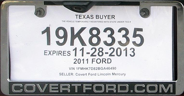 Texas Dealer License plate Template Online free